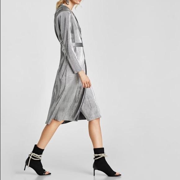 71814077 Zara Dresses | Nwt Metallic Silver Pleated Wrap Dress | Poshmark